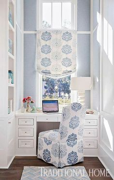 Pin of the Day: Upholstered wall panels soften this compact office. See this home > http://bit.ly/THSummertimeBliss Photo: Jean Allsopp Design: Mary McWilliams and Kenson Bates