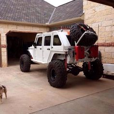 White Jeep - love the roll cage, dual gas cans & jumbo spare tire !!!