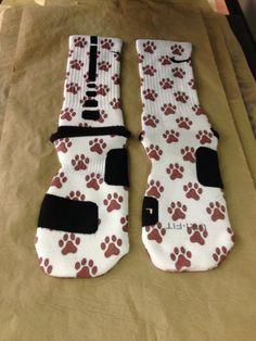 Custom Nike Elite Socks Maroon Paw Print · Sock Insanity · Online Store Powered by Storenvy