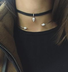 Wintry vibes ❄️ wearing the #RosetteChoker in White Gold and the #ReignHydeChoker in Rose Gold.