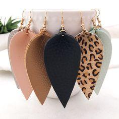 Leather Earrings Bohemian Leaf Drop Animal Print Black White Metalic - Genuine | eBay