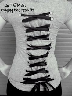 T-Shirt Makeovers - DIY Grunge Corset T-Shirt - Awesome Way to Upcycle Tees - Cool No Sew Tshirt Cutting Tutorials, Simple Summer Cutouts, How To Make Halter Tops and T-Shirt Dresses. Easy Tutorials and Instructions for Teens and Adults http:diyprojectsforteens.com/diy-tshirt-makeovers