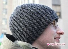 Bomber Hat - rib rows 2-13 then double crochet instead of rib. It works better at the top of the hat.