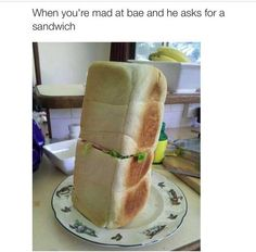 When you're mad at bae and he asks you for a Sandwich