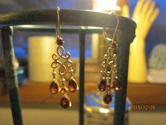 Vintage Art Deco 1.44ctw Sterling Silver Ruby Dangle Earrings, Wt. 4.1 Grams by TamisVintageShop on Etsy
