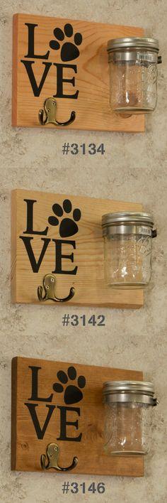 Dog Leash and Treat Holder Double Hook Love, Leash Holder, Treat Holder, Treat Jar – Pets Dog Crafts, Animal Crafts, Dog Leash Holder, Diy Dog Treats, Treat Holder, Animal Projects, Summer Diy, Diy For Kids, Mason Jars