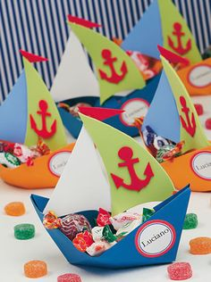 : Foami and paper boats Foam Crafts, Diy And Crafts, Crafts For Kids, First Birthday Parties, First Birthdays, Sailor Party, Nautical Party, Party Decoration, Pirate Party