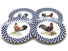 Set of 4 Williams Sonoma Blue Checkered Border Chicken Rooster Center. Salad or dessert plates. Pre-owned, good condition, no cracks or chips. | eBay!