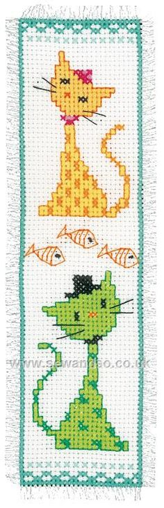 Shop online for Yellow and Green Cat Bookmark Cross Stitch Kit at…