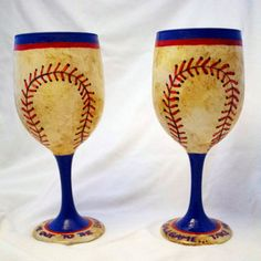 Baseball Hand Painted Wine Glasses - Set of 2 via Etsy