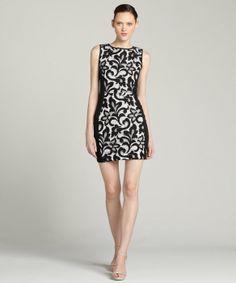 Greylin black and white lace ponte body con dress 60-