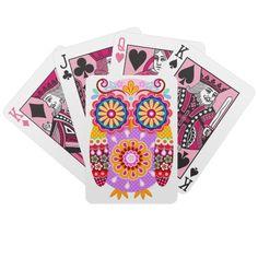 Cute Retro Owl Playing Cards - Folk Art Owl