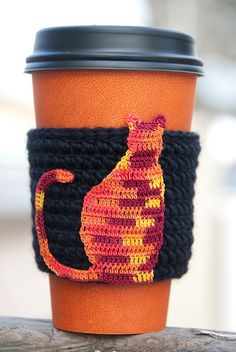 Hand crocheted coffee cosy cozy calico cat by TableTopJewels, $14.00