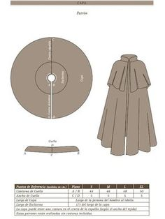 patrones de capa española - Buscar con Google Fashion Project, Diy, Clothes, Projects To Try, Sewing Patterns, Costumes, Layers, Cloak Pattern, Coats