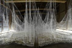 japanese artist yasuaki onishi has installed an immersive sculpture made from glue and crystals at an old japanese sake winery in nara prefe...