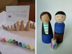 Baby Shower activity: guests paint wooden dolls to their likeness and they can serve as decorations in the child's room until they are old enough to play with them (without immediately sticking them in their mouth)