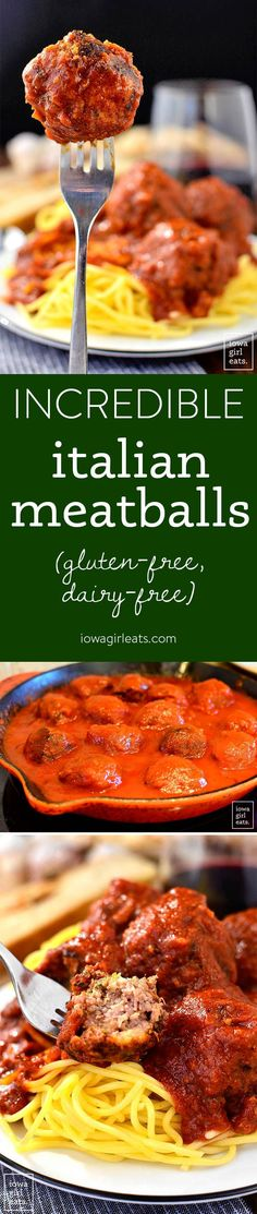 Incredible Italian Meatballs are just that - incredible! Soft and savory, these gluten-free, classic Italian meatballs will quickly become a family favorite. | iowagirleats.com