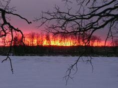 Winter sunset outside of Bottineau, ND