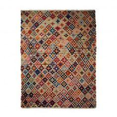 ARRO Home: Wool shag Pom Pom Tuft rug. Multicoloured design on natural.  Dimensions: 200cm X 300cm