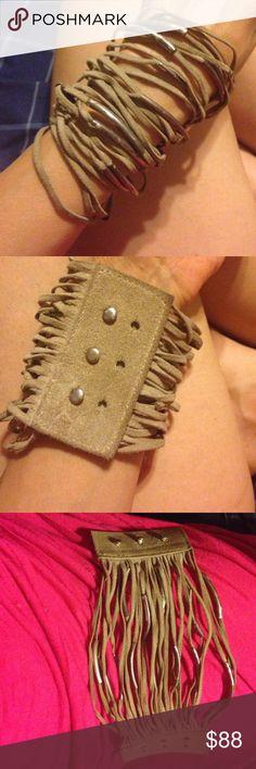 Handmade in Venice , CA leather & metal bracelet **** final markdown ****One of a kind Handmade in Venice , CA leather & metal bracelet Vintage Jewelry Bracelets