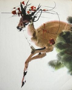 Paintings of deer and a few other creatures by the Czech artist Mirko Hanák Japanese Painting, Chinese Painting, Chinese Art, Japanese Art, Art Watercolor, Watercolor Animals, Flowers Wallpaper, Poster Photo, Rena