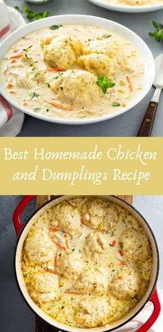 Best Homemade Chicken and Dumplings Recipe If you are looking for the best Chicken and Dumplings recipe ever, well, you found it! Whole 30 Chicken Recipes, Cooking Whole Chicken, Shredded Chicken Recipes, Yummy Chicken Recipes, Crockpot Recipes, Soup Recipes, Dinner Recipes, Cooking Recipes, Recipe Chicken