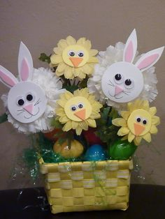 Easy Easter Crafts - Bunny and Duck Bouquet Easter Projects, Easter Crafts For Kids, Easter Ideas, Easter Decor, Spring Crafts, Holiday Crafts, Easter Activities For Kids, Easter Religious, Foam Crafts