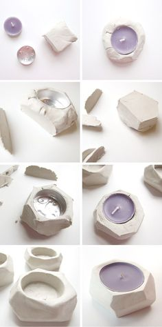 How to make Diy Faceted Clay Tea Light Holders