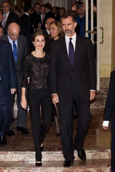 """King Felipe VI of Spain and Queen Letizia of Spain attend the """"Francisco Cerecedo"""" journalism award 2014 ceremony at the Ritz Hotel on November 5, 2014 in Madrid, Spain."""