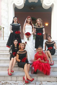 The gloves and red heels are a little much, but I dig the dresses!