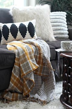 Fall living room with cozy plaid flannel throw blanket | Fall Home Tour 2016…