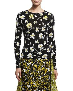 Embellished Floral-Print Pullover, Black/White/Yellow