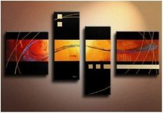4 Pics Dancing Lines Black Large Abstract Modern Art 100% Hand Painted Oil Painting on Canvas Wall Art Deco Home Decoration (Unstretch No Frame) by Global Gallery, http://www.amazon.com/dp/B009L47D9W/ref=cm_sw_r_pi_dp_c.KWrb1K3A0R6