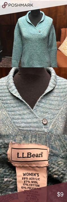 L.L. Bean Sweater Pretty greenish blue one button on the collar wool/cotton/poly blend EUC L.L. Bean Sweaters