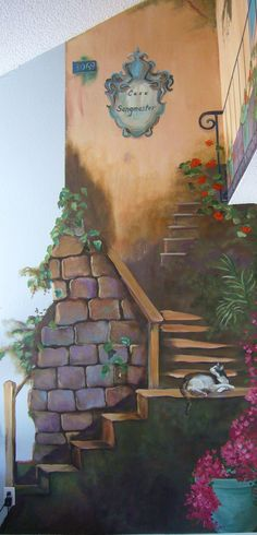 tuscan wall murals | area Mural Artist, Marion Hatcher, paints 3D illusions, angels, Tuscan ...