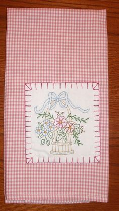 Hand embroidered tea towel Basket of Flowers  by AStitchinTime72, $9.00