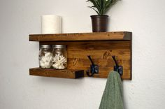 Modern 2 Tier Floating Shelf Bathroom Towel Rack 2 Bronze Robe Hooks Light Walnut Rustic Wood