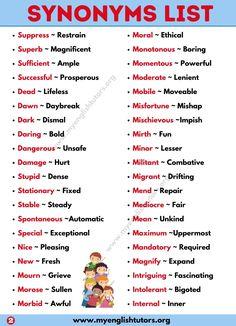Synonym: List of 300+ Synonym Words List with Example Sentences - My English Tutors