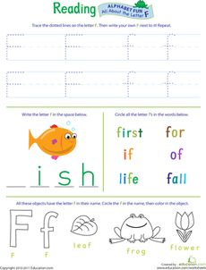Get Ready for Reading: All About the Letter F Worksheet