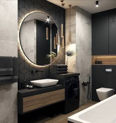 Backlit LEDs give you that extra bit of light that you need to be precise without being uncomfortable to the eyes. Best Bathroom Designs, Bathroom Design Luxury, Modern Bathroom Design, Home Room Design, Loft Design, Bad Inspiration, Bathroom Inspiration, Dream Bathrooms, Beautiful Bathrooms