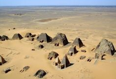 The Forgotten Pyramids of Sudan. Approximately 255 pyramids[2] were eventually constructed at three sites in Nubia over a period of a few hundred years to serve as tombs for the kings and queens of Napata and Meroë. #pyramids #nubia #desert #history #ancient #mysterious #breathtaking #stone #plane #civilization