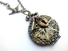 Brass Perfume Locket - Key and Lock Necklace, Perfume Locket from SteampunkByDesign on Etsy