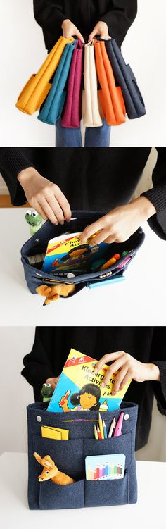 Woah! Transform any tote bag with the Long Felt Purse Organizer! It's made of sturdy felt that's resistant to pilling. It features 8 pockets on the outside and 9 extra pockets inside. The pockets come in a variety of sizes. Organize everything from makeup and beauty products to earphones and electronic devices! There's a handle and 2 snap buttons that make it easy to transfer from bag to bag. Use it for your purse, diaper bag, or school bag! Check it out!