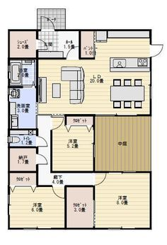 31坪3ldkの中庭のある平屋の間取り図 平屋間取り 平屋住宅の
