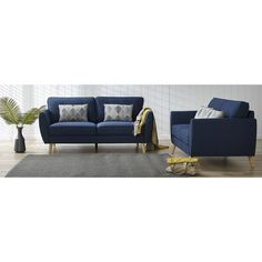 Bourke 3 seater + 2 seater in blue. Available in store and online from Focus on Furniture now.