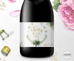Greenery Mini Champagne label Champagne Bar Wedding by LolliBella