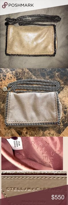 Stella McCartney Falabella Chamois CrossbodyClutch 100% AUTHENTIC!!  Preowned in excellent condition used this about 7 times total.I love it so much but a little too small for me so I upgraded to the Falabella Shaggy deer mini Tote which is also a crossbody. But this baby is super classy chic and beautiful, inside of the bag is like brand new just a little stain on the lining inside the bag which is not visible at all. No Dustbag, but will include a coach dustbag for protection . Stella…