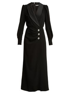 Alessandra Rich Hollywood Crystal-embellished Crepe And Satin Maxi Dress In Black 40s Outfits, Classy Outfits, Pretty Outfits, Simple Dresses, Casual Dresses, Fashion Dresses, Tailored Dresses, Embellished Dress, Elegant Outfit