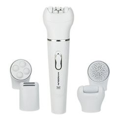 [5 in 1] Hangsun Facial Epilator Rechargeable Cordless F510 Facial Hair Removal + Facial Cleansing Brush + Pedicure Hard Skin Remover + Massage Roller Lady Shaver