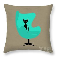 Egg Chair in Aqua Throw Pillow by Donna Mibus